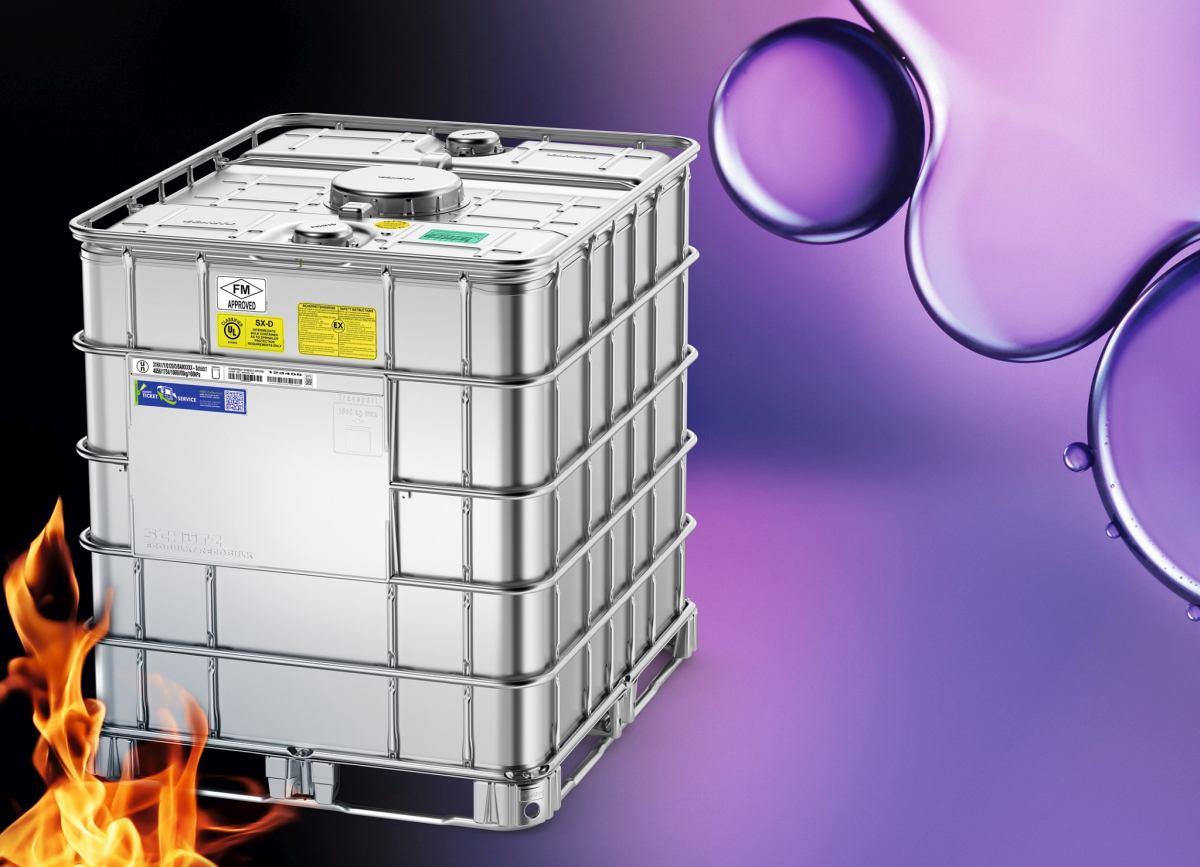 Bestens geeignet für brennbare Flüssigkeiten sowie sensible Gefahrgüter – der Ecobulk SX-D von Schütz. Foto: SCHÜTZ